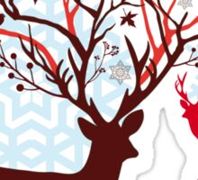 Christmas deer with tree branch antlers and birds Sticker