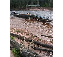 Tethered Canoes Photographic Print
