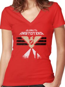 """Papers, Please - Propaganda, Poster """"Glory"""" Women's Fitted V-Neck T-Shirt"""