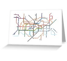 London Underground Pixel Map Greeting Card