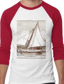 Vintage Sailing Ship on the Sea Men's Baseball ¾ T-Shirt