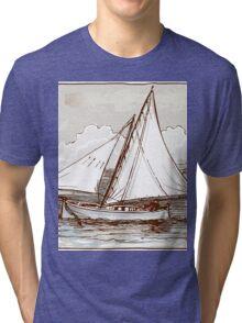 Vintage Sailing Ship on the Sea Tri-blend T-Shirt