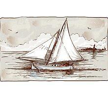 Vintage Sailing Ship on the Sea by aurielaki