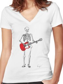 theres a skeleton with my guitar Women's Fitted V-Neck T-Shirt
