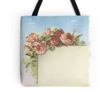 Vintage Roses Ornament on Old Page with blue sky Tote Bag