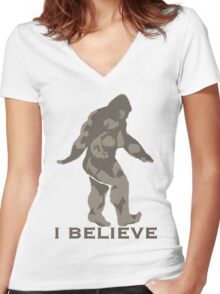 Bigfoot I believe  Women's Fitted V-Neck T-Shirt