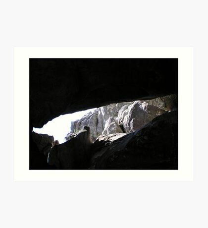 outside the cave Art Print