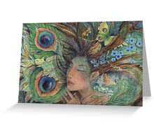 Green Lady Nature Goddess fairy art  Greeting Card