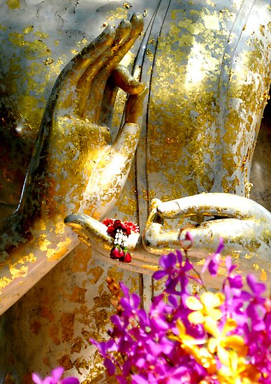 Buddha Hands And Flowers by Dave Lloyd