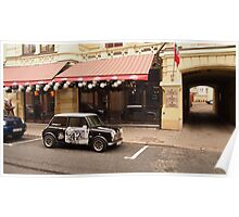 Mini Cooper near pub. Poster