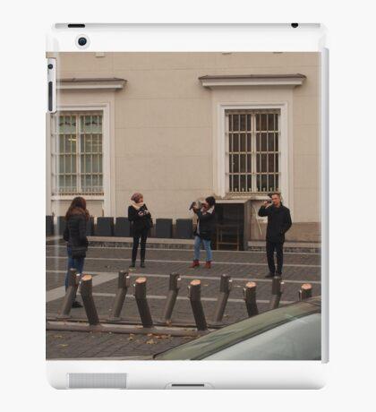 Three amateur photographers snapping girl photomodel. iPad Case/Skin
