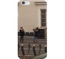 Three amateur photographers snapping girl photomodel. iPhone Case/Skin