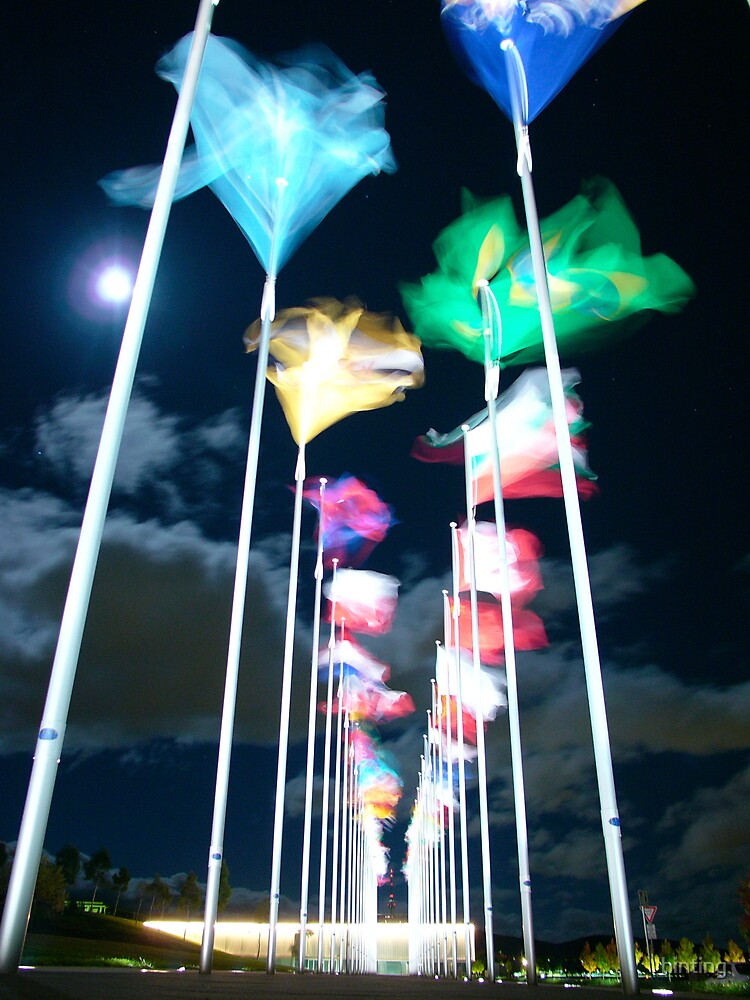 Commonwealth Place Flying Flags Moon Moving Clouds by hinting