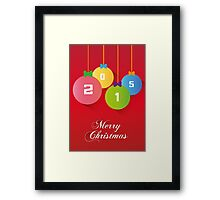 Merry Christmas red background card, balls paper effect Framed Print