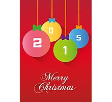 Merry Christmas red background card, balls paper effect Photographic Print