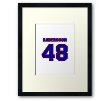 National Hockey player Jonas Andersson jersey 48 Framed Print