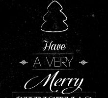 Merry Christmas typography card with scratched background  by vinainna