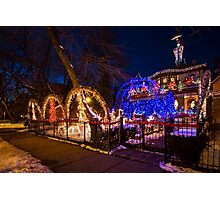 Crazy amount of xmas lights on this house Photographic Print