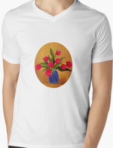 Pink Tulips  Mens V-Neck T-Shirt