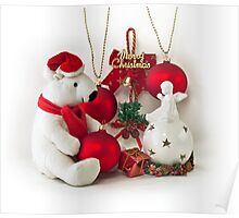 White Teddy Bear and angel Poster