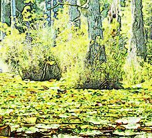 Lillypads in the Swamp - Watercolor Look by Cynthia's   Art