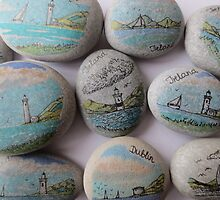 Pebbles from the beach with seascape by pkr14