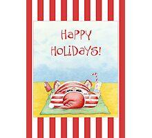 Santa in the Sand Stripes Photographic Print