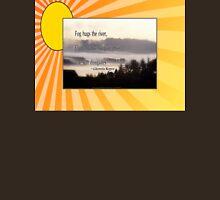 foggy sunrise, Columbia River, Oregon, Haiku sunny background Unisex T-Shirt