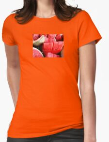 JUICY WATERMELON AND CANTALOUPE FRUIT SALAD Womens Fitted T-Shirt