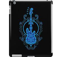 Intricate Blue and Black Bass Guitar Design iPad Case/Skin