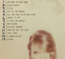 Taylor Swift TS 1989 Tracklist by lalsim