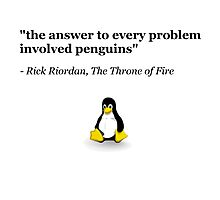 The Answer to Every Problem Involved Penguins Photographic Print