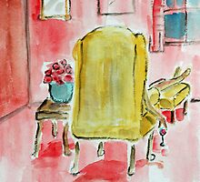naked lady in yellow chair by daniels