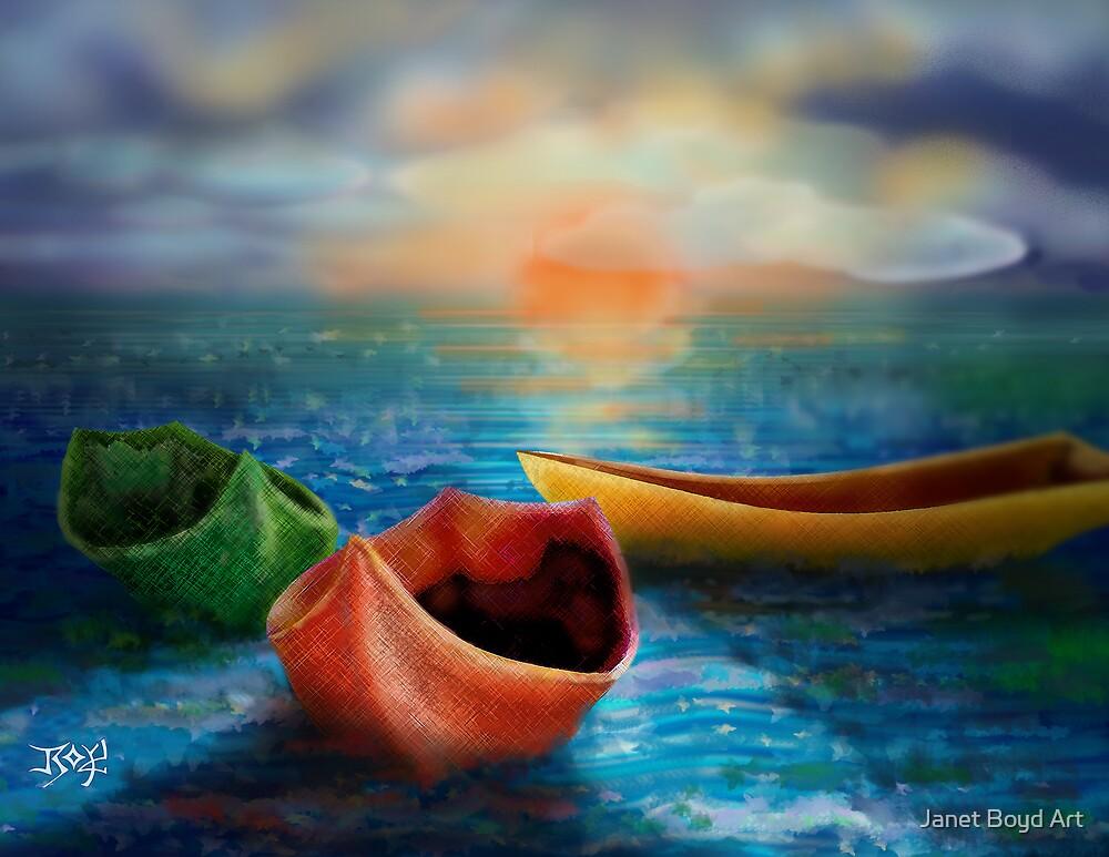 Three Boats by Janet Boyd Art