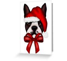 Boston Terrier Christmas Hat Greeting Card