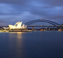 Sydney Opera House and Harbour Bridge before dawn  by Martin Pot