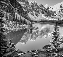 Moraine Lake Black & White by 1bluecanoe