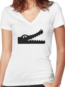Crocodile head Women's Fitted V-Neck T-Shirt