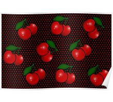 Polka dots and Cherry Pattern in Black Poster