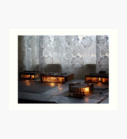 Night Time In the Village Art Print