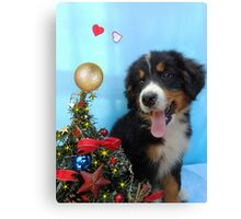 Puppy with its Christmas tree Canvas Print