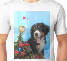 Puppy with its Christmas tree Unisex T-Shirt
