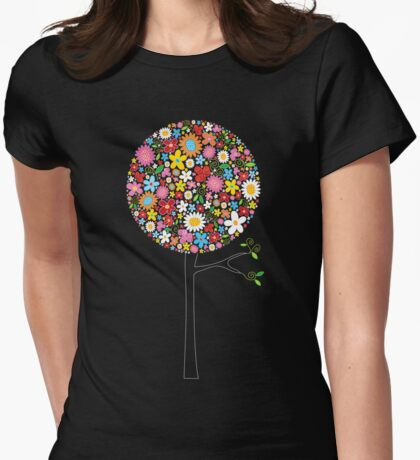 Whimsical Colorful Spring Flowers Pop Trees Womens Fitted T-Shirt