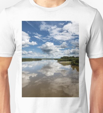 Beautiful clouds over river and reflection in water Unisex T-Shirt