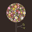 Whimsical Pink Pop Tree with Colorful Spring Flowers by fatfatin