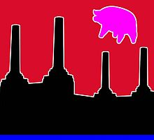 PINK FLOYD FLYING PIG OVER BATTERSEA by FieryFinn77