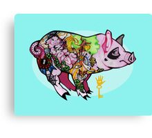 Inked piggy Canvas Print
