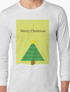 Merry Christmas - Snow on a Christmas Tree Long Sleeve T-Shirt