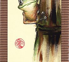 HOWDY NEIGHBOR - Original Painting Barred Leaf Treefrog by Rebecca Rees