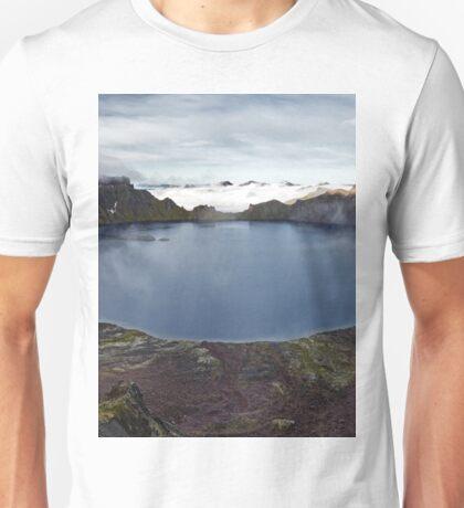 Beautiful crater lake of active volcano on Kamchatka Peninsula Unisex T-Shirt